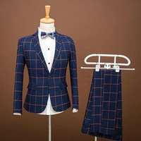 2018 checked suit men's clothing Cultivate one's morality suit Fashion two piece