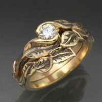 WEDDING RING SET -14k Yellow or White Gold - Delicate Leaf Engagement ring with matching Wedding Band.