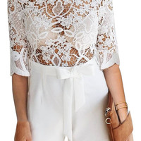White Sexy Lace See Through Women's Fashion Winter Jumpsuit [8998743812]