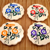 Hand Painted Round Flowered Coasters Table Protectors