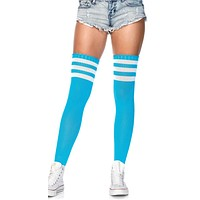 Blue and White 3 Stripe Thigh High Socks
