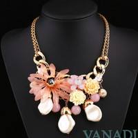 Camellia Flower Resin Rhinestone Necklace Choker Necklace Chunky Statement Necklace
