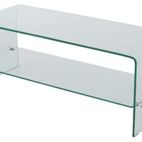 Classon Glass Entertainment Tv Console Stand With Shelf - Contemporary - Console Tables - by GDFStudio