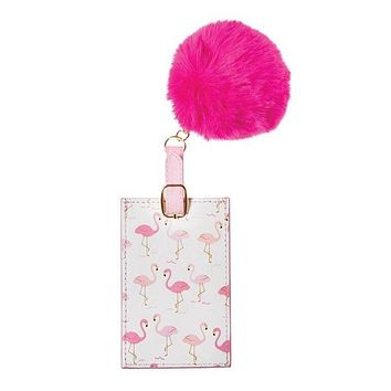 Flamingoes with Pompom Travel Luggage Tag