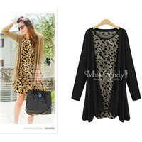 Women's Fashion Bottom & Top Knit Cotton Jacket Leopard One Piece Dress [6338691716]