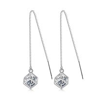 Girl Korean Tassels Diamonds Stylish Simple Design Silver Earrings [10427402900]