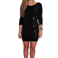 Black Fitted Sequin Dress