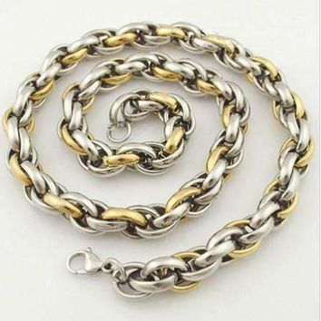 Chunky Two Tone Spiral Link Chain Stainless Steel Necklace- Two Sizes to Choose