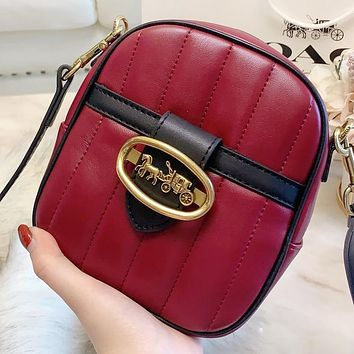 COACH New fashion leather shoulder bag crossbody bag Burgundy