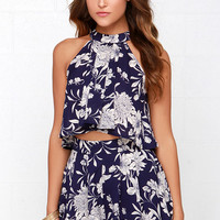 Go with the Floral Navy Blue Floral Print Two-Piece Set