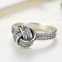 ON SALE - CZ Accented Sterling Silver Love Knot Ring