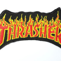 """THRASHER Skate Flame Iron On Embroidered Patch 3.4""""/8.8cm"""