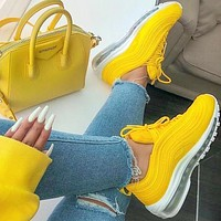 Nike Air Max 97 Yellow Fashion air cushion yellow Gym shoes