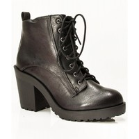 New Soda Inside Vegan Round Toe Stacked Lace Up Ankle Heel Booties BLACK