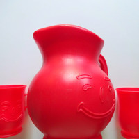 Vintage Kool-Aid Drink Pitcher with Cups 1984