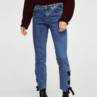 Bow detail straight jeans