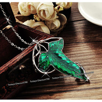 Lord Of The Rings Green Elven Leaf Necklace Evenstar LOTR Hobbit Romantic Birthday Valentine Xmas Gift For Her Wife Girlfriend Couples Women