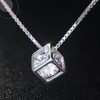 925 sterling silver zircon square pendant necklace,love rubik's cube square pendant necklace,a perfect gift