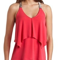 RUFFLE BEADED RACERBACK TANK TOP