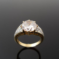 Cubic Zirconia Ring, Silver Ring, Size 7 Ring, Sterling Silver Ring, Gold Over Silver, 925 Ring, 925 CZ Ring, Sterling Ring, Gilded Ring