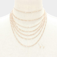"""13"""" multi layered chain choker necklace .25"""" earrings"""
