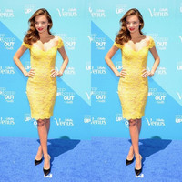 Miranda Kerr Yellow Off-shoulder Lace Short Cocktail Dress