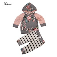Toddler Baby Girls Autumn Sets Floral Hoodie+Striped Pants Leggings 2Pcs Warm Outfits Clothes Set