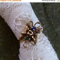 SALE 10K Gold Ring,  Floral Filigree Sapphire Emerald Ring , Size 6