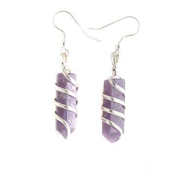 Lepidolite Point Wrapped Earrings