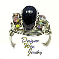 DWJ0320 Gorgeous Blue Sandstone Solitaire Silver Wire Wrap Ring All Sizes