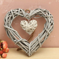 Wicker Hanging Heart In Grey White Wreath Color Rattan Sepak Takraw Wedding Supplies Home Party Decoration