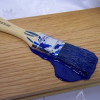 """Fake Puddle Blue Paint on a 1"""" Paintbrush Spill Fun Gag Prop"""