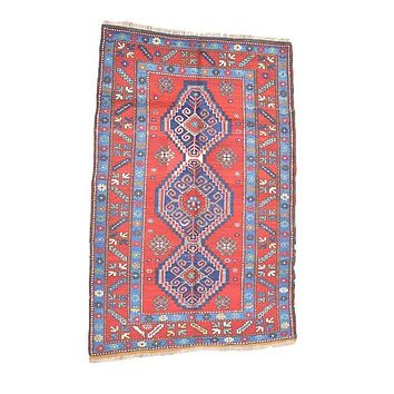 Vintage Kazak Turkish Rug, Red Blue Rug, 4' x 6'5""
