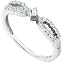 Round Diamond Ladies Fashion Ring in 14k White Gold 0.2 ctw