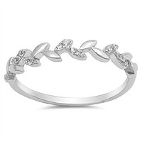 Sterling Silver and CZ Leaf Vine Ring