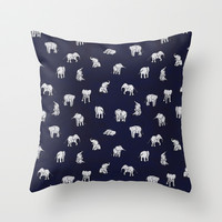 Indian Baby Elephants in Navy Throw Pillow by Estelle F