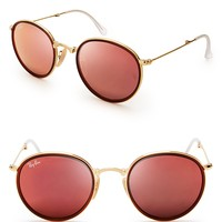 Ray-Ban Foldable Round Mirrored Sunglasses