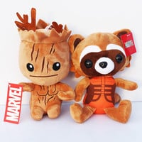 Free shipping 2pcs/lot Guardians of the Galaxy plush doll the tree man Groot and Rocket Raccoon soft stuffed toy