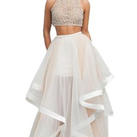 Elley Women's Two Piece Beaded Bodice Long Chiffon Prom Party Dress Champagne US2