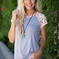 Floral Wishes Top Grey
