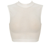 Clothing : Tops : 'Ocean' Cream Knitted Stretch Mesh Sleeveless Top