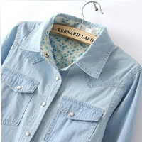 Free Shipping 2014 Women Blouse Spring Autumn Casual Shirts Long Sleeve Denim Cotton Jeans Shirt Casual Women Shirt B-2026