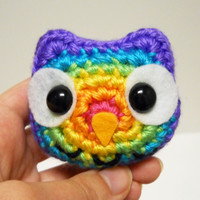 Bright Rainbow Owl - Purple Outline - Made to Order - Crocheted Plushie
