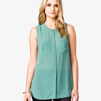 Pleated Patch Pocket Tunic | LOVE21 - 2021841327