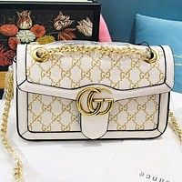 GUCCI New fashion more letter leather shoulder bag women crossbody bag White