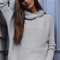 Fashion Solid Color High Collar Knitted Sweater Top