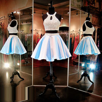 Light Blue Homecoming Dresses Beaded Pearls Halter Neckline and Short Two Piece Homecoming Dress Open Back