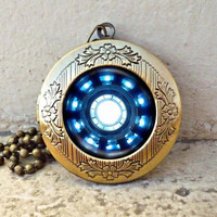 Iron man necklace Heart Arc reactor locket ready for gifting - buy 3 get 4th one free