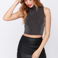 Mock Trial Black and Silver Striped Crop Top