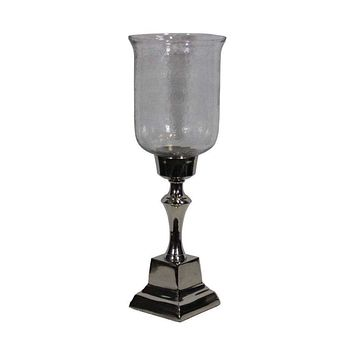 Stunning Hammered Glass Candle Holder - Silver By Benzara